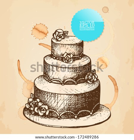 Vector Vintage Illustration Hand Drawn Wedding Stock Vector 2018