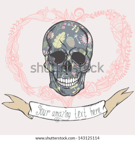 Vector vintage illustration with skull, floral heart and ribbon in cute color. - stock vector