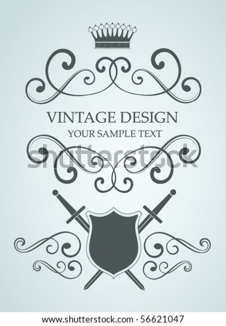 vector vintage illustration with sword and shields - stock vector