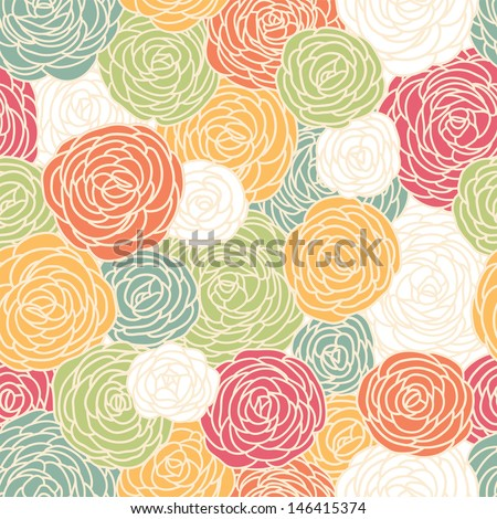 Vector vintage inspired seamless floral pattern with colorful roses - stock vector