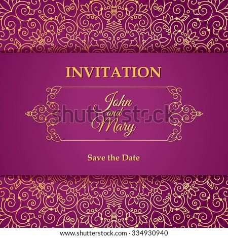 Vector vintage invitation card template.