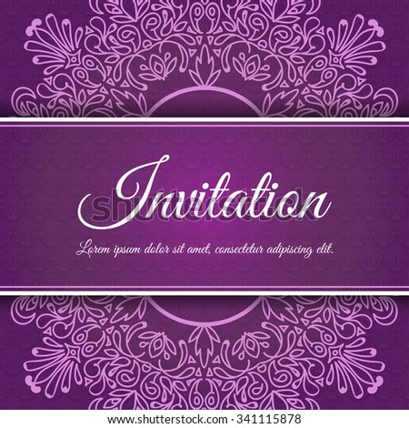 Vector vintage invitation card template. Decorative Monogram in oriental style . Elegant pattern element for design . With space for text - stock vector