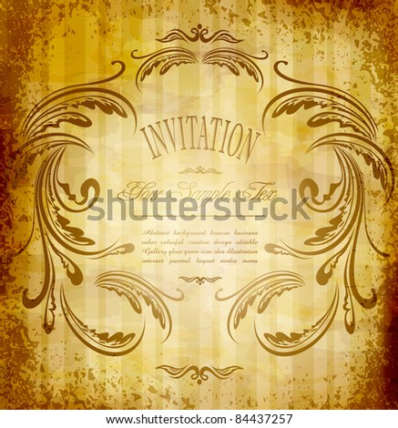 vector vintage invitation on grungy background - stock vector