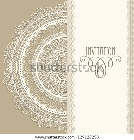 """Vector  vintage invitation with white lacy napkin, seamless lacy  brushes included, fully editable eps 8 file, standart AI font """"eccentric std"""" - stock vector"""