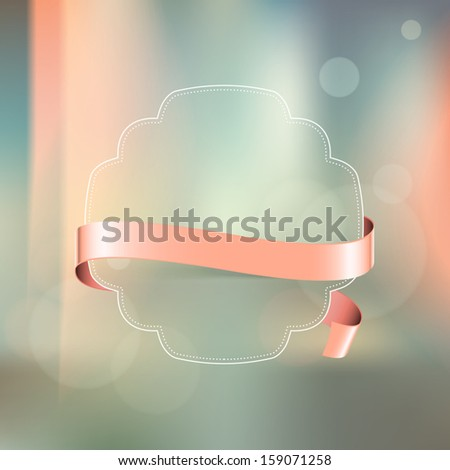 Vector vintage label with pale pink ribbon over photographic unfocused background - stock vector
