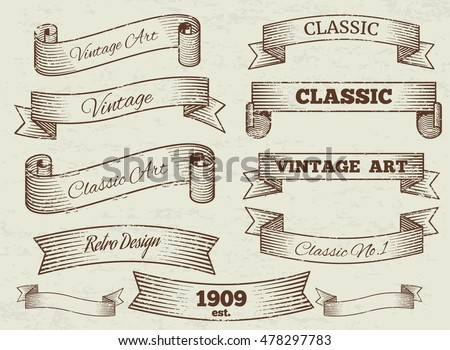 Vector vintage labels and banners collection. Classic art ribbon illustration