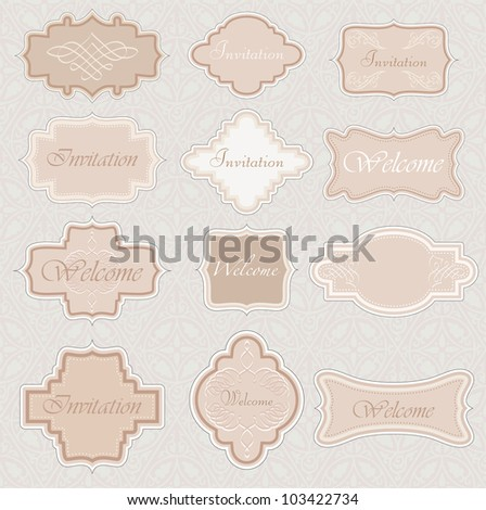 vector vintage labels for invitation or different use - stock vector