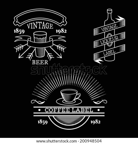 Vector vintage labels isolated on black, retro beverages labels - beer glass, wine bottle, tea or coffee cup with place for text ribbons - stock vector