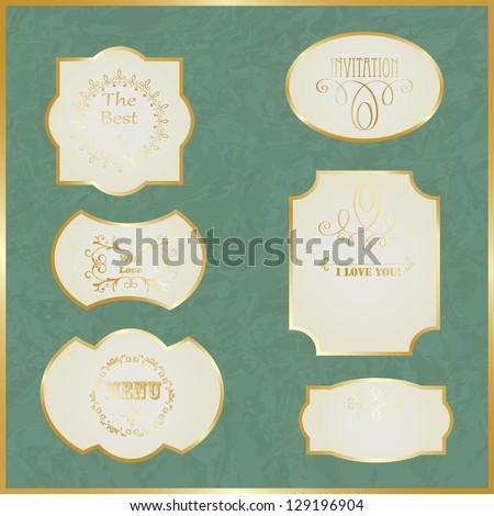 Vector Vintage Labels with Golden Borders and Text on Crumpled Paper, fully editable eps 10 file - stock vector