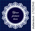 vector - Vintage Lace Frame, round doily border, copy space, blue quilted background for albums, scrapbooks, holidays, do it yourself craft.  EPS8 has pattern swatch that seamlessly fills any shape. - stock photo