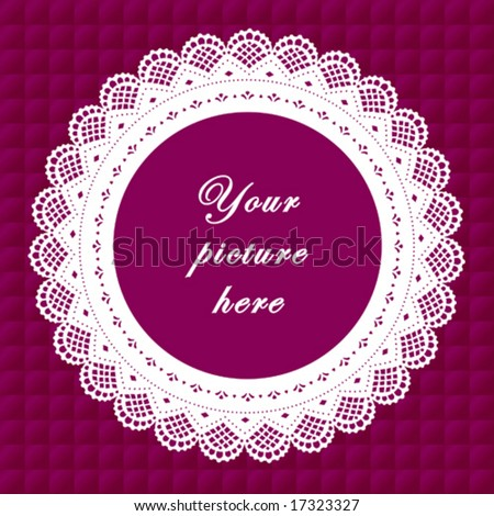 vector - Vintage Lace Frame, round doily border, copy space, purple quilted background for albums, scrapbooks, holidays, do it yourself craft.  EPS8 has pattern swatch that seamlessly fills any shape. - stock vector
