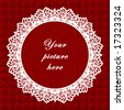 vector - Vintage Lace Frame, round doily border, copy space, red quilted background for albums, scrapbooks, holidays, do it yourself craft.  EPS8 has pattern swatch that seamlessly fills any shape. - stock vector