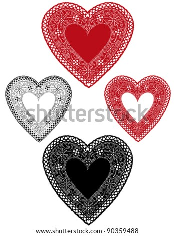Vector - Vintage Lace Heart Doilies, red, white antique designs, baby hearts border, copy space for Valentines Day, Mothers Day, anniversary, birthday, Christmas, scrapbooks, cake decorating. EPS8. - stock vector