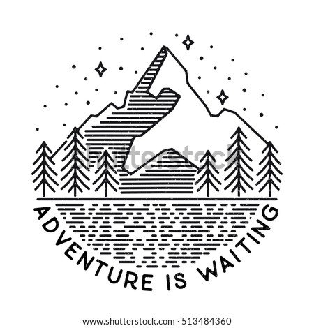 Vector Vintage Landscape Mountain Peaks End Stock Vector