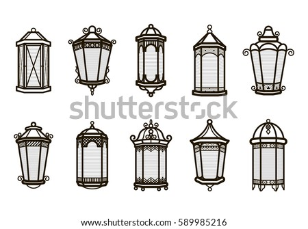 Vector Vintage Lantern Set Isolated On Stock Vector