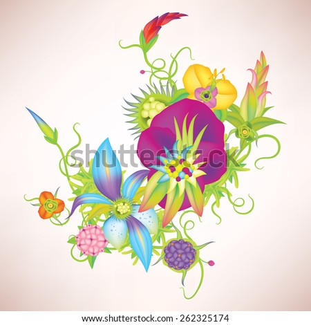 Vector vintage leaves and flowers eps10 - stock vector
