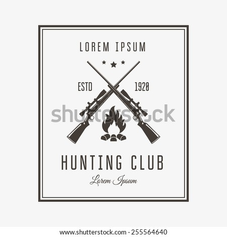 Vector vintage logo or emblem for the hunting club. Rifle and campfire silhouette. - stock vector