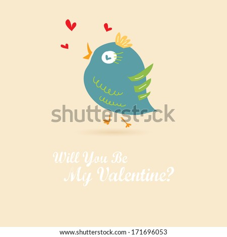 Vector vintage love card with cute animal. Valentine's day illustration