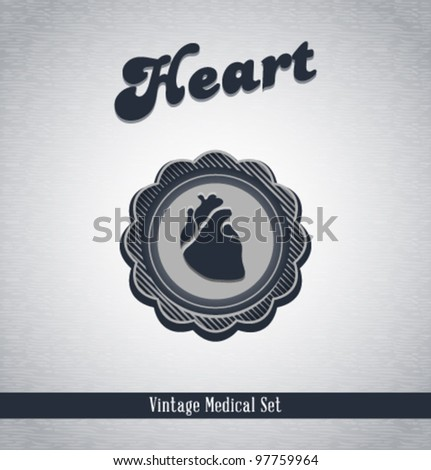 Vector vintage medical icons / Heart / series of icons