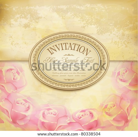 vector vintage old background with  roses on a faded paper