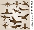 Vector vintage old set of brown planes drawings on a beige background. It is a group or collection of aircrafts ideal for grungy, travel, flight,transport,retro,antique,business or commercial designs - stock