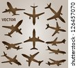 Vector vintage old set of brown planes drawings on a beige background. It is a group or collection of aircrafts ideal for grungy, travel, flight,transport,retro,antique,business or commercial designs - stock vector