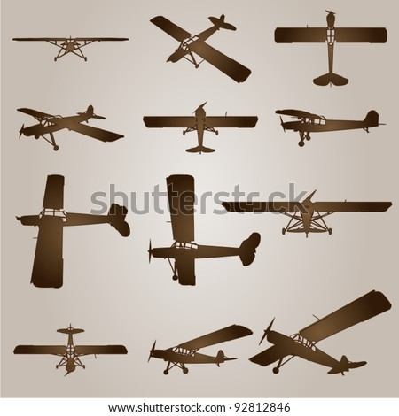 Vector vintage old set of brown planes drawings on a beige background. It is a group or collection of aircraft ideal for grungy, travel, flight,transport,retro,antique,business or commercial designs - stock vector