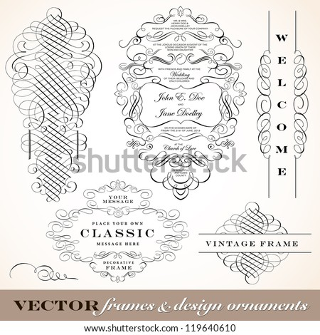 Vector Vintage Ornament Frame Set. Easy to edit. Perfect for invitations or announcements. - stock vector