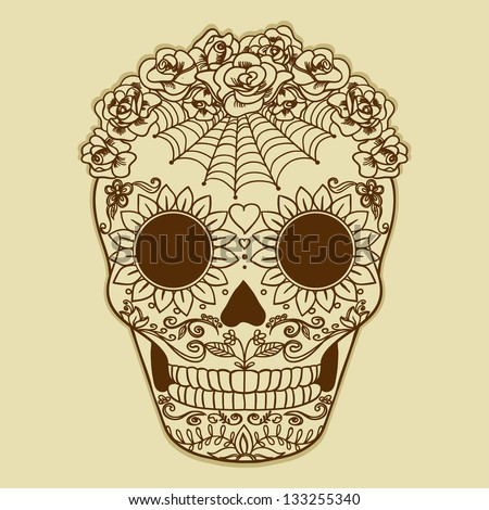 Vector Vintage  Ornate Sugar Skull. Catrina. - stock vector