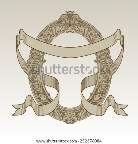 Vector vintage oval frame hand drawn silhouette with curled hatched ribbon - stock vector