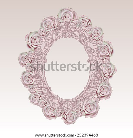Vector vintage oval hand drawn frame  with pink-green  roses - stock vector