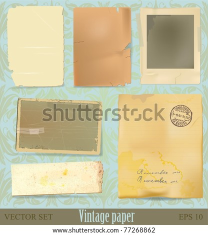 Vector vintage paper and scrap collection - stock vector