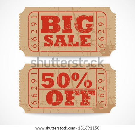 Vector vintage paper sale ticket