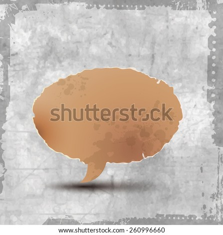 Vector vintage paper shape as bubble speech isolated - stock vector
