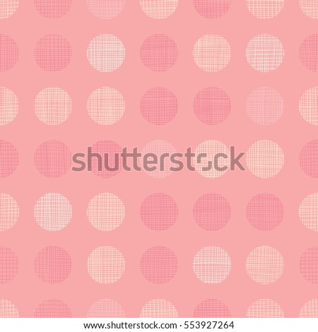 Vector Vintage Pastel Salmon Pink Baby Girl Dots Circles Seamless Pattern Background With Fabric Texture. Perfect for nursery, birthday, circus or fair themed designs.