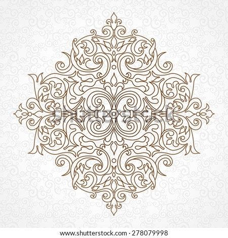 Vector vintage pattern in Victorian style. Ornate floral element for design. Ornament pattern for wedding invitations, birthday and greeting cards. Traditional outline decor. Mandala. - stock vector