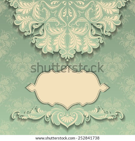 Vector vintage pattern with frame and floral elements , place for text