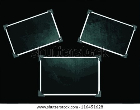 Vector vintage photo frames with corners on black - 3 frames - stock vector
