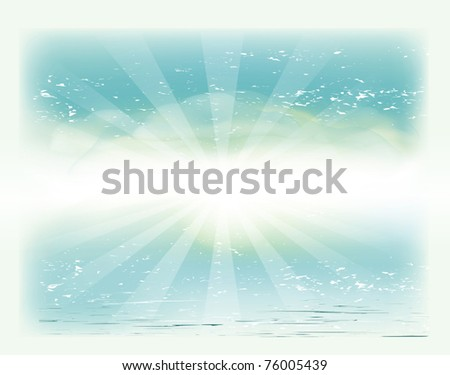 vector vintage photo with the sky, sea and sun - stock vector