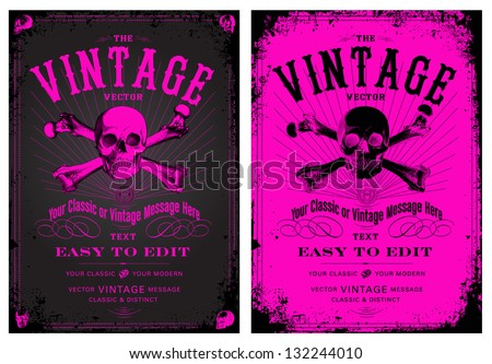 Vector Vintage Pink Poster Set. Easy to edit, all pieces are separated. - stock vector