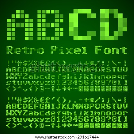 Vector Vintage Pixelated Font. Retro style typeset with two styles - stock vector