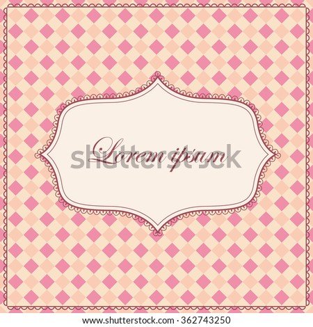 Vector vintage plaid pink background with banner
