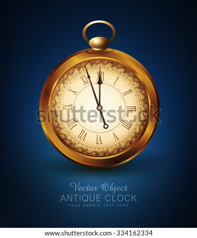 vector vintage pocket watch on a blue background - stock vector