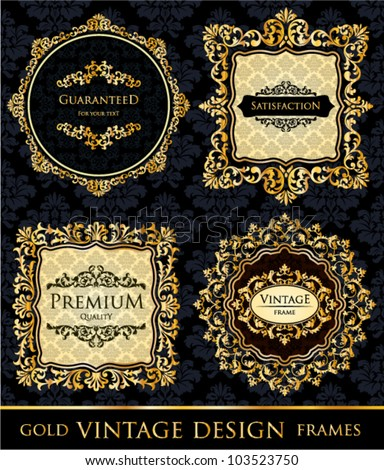 Vector Vintage, Premium Quality and Satisfaction Guarantee Gold black frames decor set label - stock vector