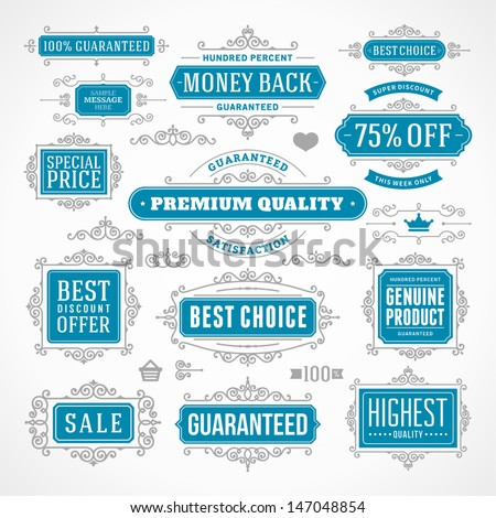 Vector vintage Premium quality labels set and antique frames design elements. Flourishes calligraphic.  - stock vector