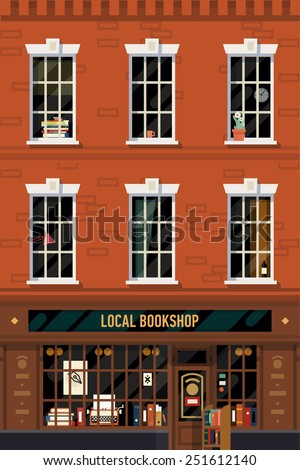 Vector vintage printable poster design background on downtown brick building structure facade with detailed windows and retro antiquarian book shop front on ground floor - stock vector