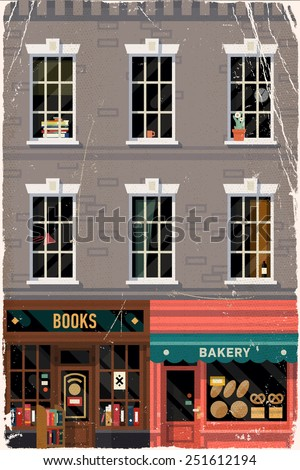 Vector vintage printable poster design background on downtown grey brick building structure facade with detailed windows, retro bookshop and local bakery storefronts, old weathered paper texture - stock vector