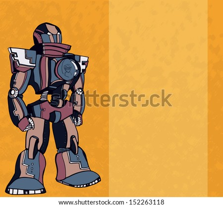 Vector vintage realistic robot piloting by kid - stock vector