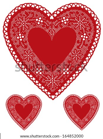 vector - Vintage Red Lace Heart Doily, copy space for Valentines Day, Mothers Day, anniversary, birthday, Christmas, albums, scrapbooks, cake decorating. Isolated on white background. EPS8 compatible. - stock vector