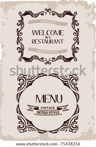 Vector vintage restaurant retro frame background paper old